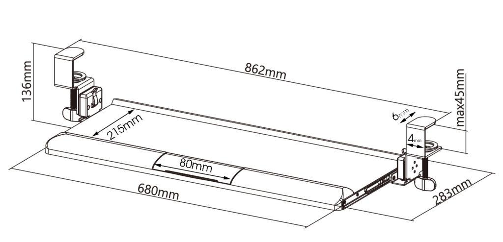 Allcam KBT08T ergonomic clamp-on tilting keyboard tray platform wrist supports rests size diagram