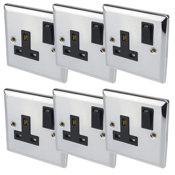 Volex switched wall socket 1 gang chrome metal plate 6 pack